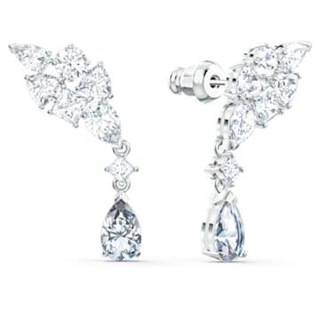 Pendientes Tennis Deluxe, Cristales de talla combinada, Gris, Baño de rodio - Swarovski, 5562086