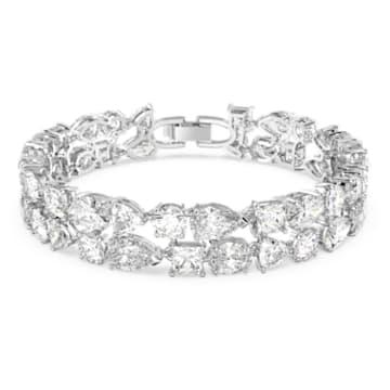 Tennis Deluxe bracelet, Precision cut crystals, White, Rhodium plated - Swarovski, 5562088