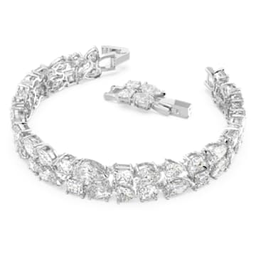Tennis Deluxe Mixed Bracelet, White, Rhodium plated - Swarovski, 5562088