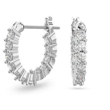 Vittore 大圈耳环, 白色, 镀铑 - Swarovski, 5562126