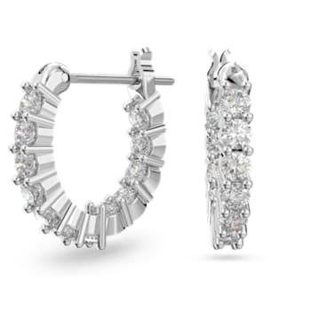 Vittore hoop earrings, White, Rhodium plated - Swarovski, 5562126