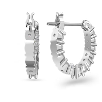 Vittore mini karika bedugós fülbevaló, fehér, ródium bevonattal - Swarovski, 5562126
