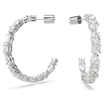 Tennis Deluxe 大圈耳環, 混合切割水晶, 白色, 鍍白金色 - Swarovski, 5562128
