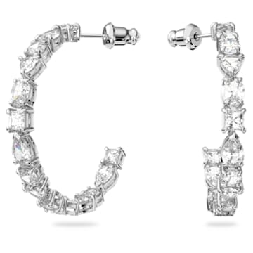 Tennis Deluxe karika fülbevaló, Különféle metszésű kristályok, Fehér, Ródium bevonattal - Swarovski, 5562128