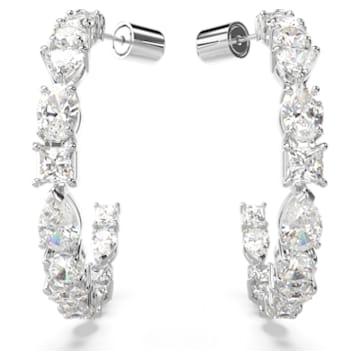 Tennis Deluxe 大圈耳环, 混合切割仿水晶, 白色, 镀铑 - Swarovski, 5562128