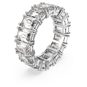 Vittore Wide Ring, White, Rhodium plated - Swarovski, 5562129