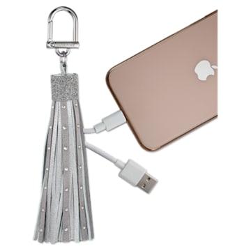 Caricabatterie con cavo USB e charm da borsa Swarovski, tono argentato - Swarovski, 5562255