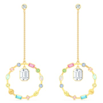 Rainbow Swan Chain 穿孔耳環, 鍍金色色調 - Swarovski, 5562897