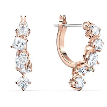 Brincos para orelhas furadas Attract, brancos, banhados com tom rosa dourado - Swarovski, 5563118