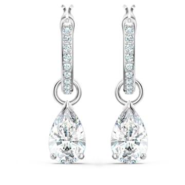 Anneaux d'oreilles Attract, Cristal taille poire, Blanc, Métal rhodié - Swarovski, 5563119