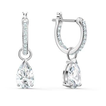 Attract 大圈耳环, 梨形切割仿水晶, 白色, 镀铑 - Swarovski, 5563119