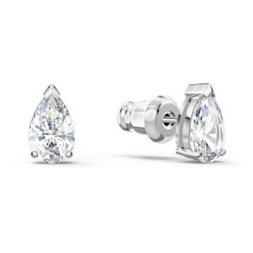 Clous d'oreilles Attract, Cristal taille poire, Blanc, Métal rhodié - Swarovski, 5563121