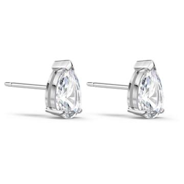 Attract stud earrings, Pear cut crystal, White, Rhodium plated - Swarovski, 5563121