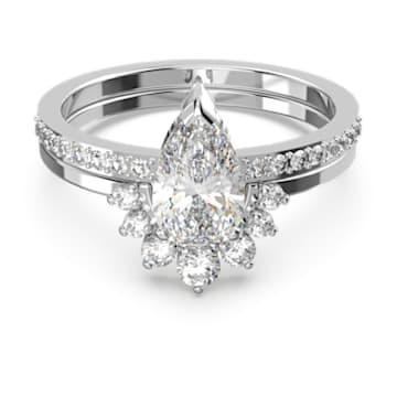 Σετ δαχτυλίδια Attract σε σχήμα αχλαδιού, λευκά, επιροδιωμένα - Swarovski, 5563122