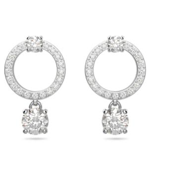 Attract fülbevalók, Kör alakú, Fehér, Ródium bevonattal - Swarovski, 5563278