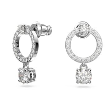 Attract 穿孔耳环, 圆形的, 白色, 镀铑 - Swarovski, 5563278