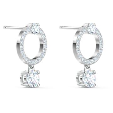 Boucles d'oreilles Attract Circle, blanc, métal rhodié - Swarovski, 5563278
