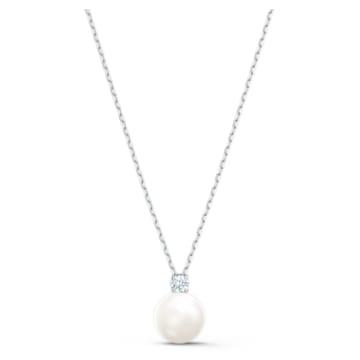 Treasure gyöngy nyaklánc, fehér ródium bevonattal - Swarovski, 5563288