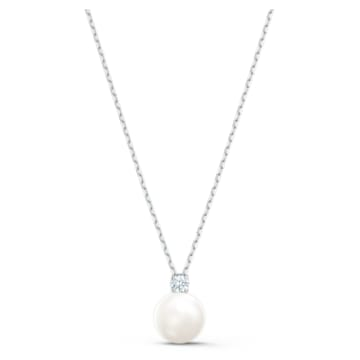 Treasure-parelketting, Wit, Rodium-verguld - Swarovski, 5563288