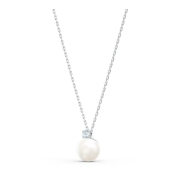 Treasure Pearl 네크리스, 화이트, 로듐 플래팅 - Swarovski, 5563288