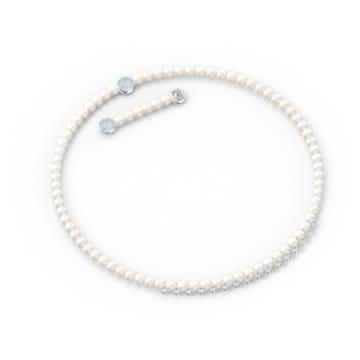 Κολιέ Treasure Pearls, λευκό, επιροδιωμένο - Swarovski, 5563289