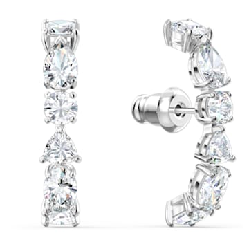 Tennis Deluxe 穿孔耳环, 混合切割仿水晶, 白色, 镀铑 - Swarovski, 5563322