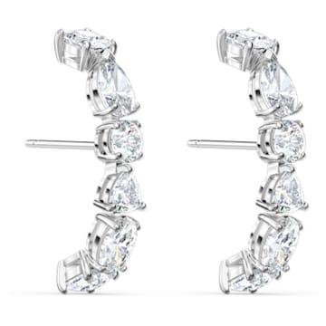 Tennis Deluxe ear cuffs, Mixed crystals cut, White, Rhodium plated - Swarovski, 5563322