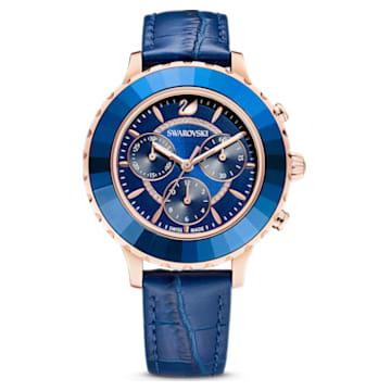 Octea Lux Chrono-horloge, Leren horlogebandje, Blauw, Roségoudkleurig PVD - Swarovski, 5563480