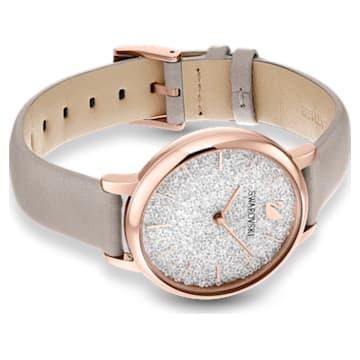 Ceas Crystalline Joy, Curea din piele, Gri, PVD cu nuanță roz-aurie - Swarovski, 5563702