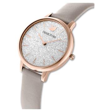 Crystalline Joy watch, Leather strap, Grey, Rose-gold tone PVD - Swarovski, 5563702