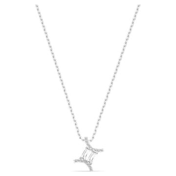 Pendente Zodíaco II, Gémeos, branco, acabamento com vários metais - Swarovski, 5563893
