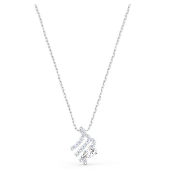 Zodiac II 链坠, 处女座, 白色, 多种金属润饰 - Swarovski, 5563899