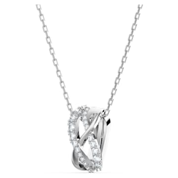 Twist pendant, White, Rhodium plated - Swarovski, 5563906
