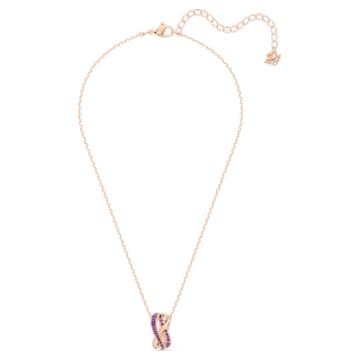 Colgante Twist Rows, violeta, baño tono oro rosa - Swarovski, 5563907
