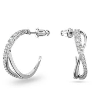 Twist Hoop Pierced Earrings, White, Rhodium plated - Swarovski, 5563908