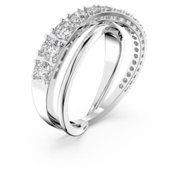 Twist Rows ring, Wit, Rodium toplaag - Swarovski, 5563911