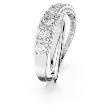 Twist Rows 戒指, 白色, 鍍白金色 - Swarovski, 5563911