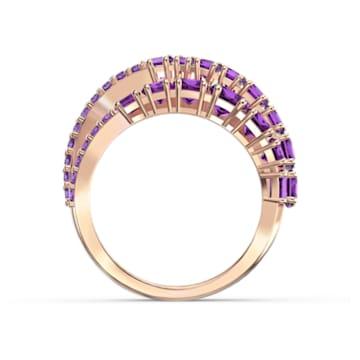 Anillo Twist Wrap, violeta, baño tono oro rosa - Swarovski, 5564872