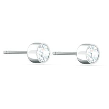 Tennis 耳钉, 白色, 镀铑 - Swarovski, 5565604