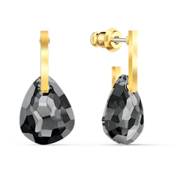 T Bar Pierced Earrings, Grey, Gold-tone plated - Swarovski, 5565999