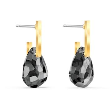 Τρυπητά σκουλαρίκια T Bar, γκρίζα, επιχρυσωμένα - Swarovski, 5565999