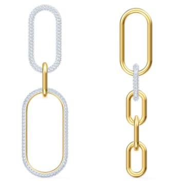Time earrings, Asymmetrical, White, Mixed metal finish - Swarovski, 5566004
