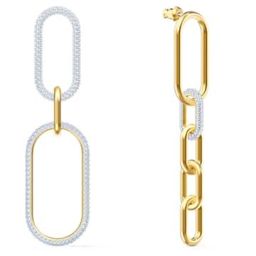 Brincos para orelhas furadas Time, brancos, acabamento em vários metais - Swarovski, 5566004