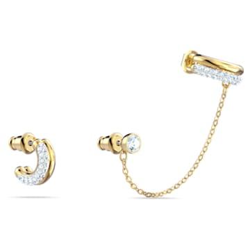 Pendiente cuff Time, blanco, combinación de acabados metálicos - Swarovski, 5566005