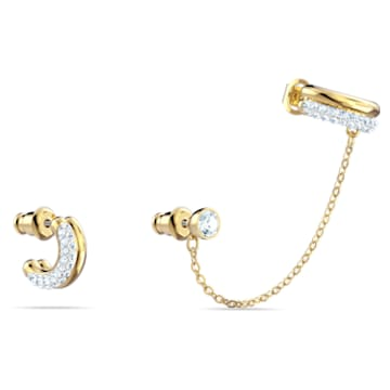 Time Pierced Earring Cuff, White, Mixed metal finish - Swarovski, 5566005