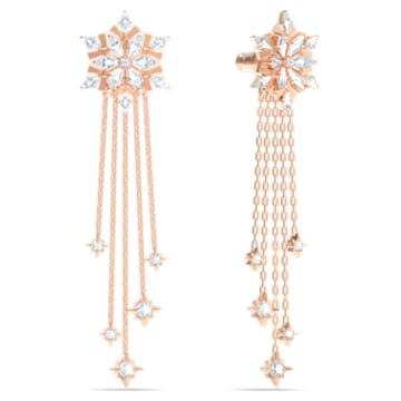 Magic 穿孔耳环, 白色, 镀玫瑰金色调 - Swarovski, 5566674
