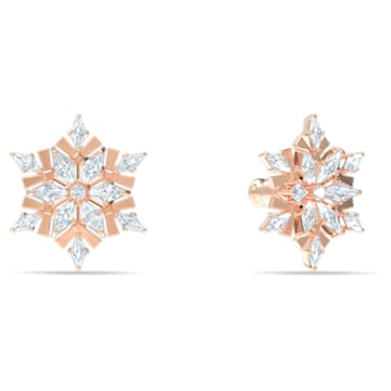 Magic bedugós fülbevalók, fehér, rozéarany árnyalatú bevonattal - Swarovski, 5566674
