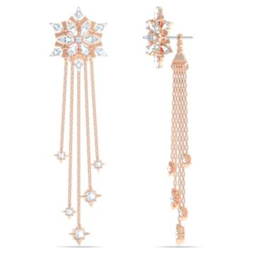 Τρυπητά σκουλαρίκια Magic, λευκά, επιχρυσωμένα με ροζ χρυσό - Swarovski, 5566674