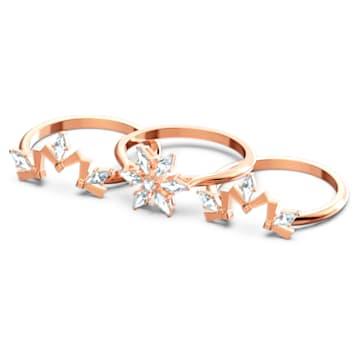 Set de inele Magic, alb, placat în nuanțe de aur roz - Swarovski, 5566676