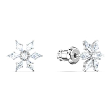 Magic Chain Pierced Earrings, White, Rhodium plated - Swarovski, 5566677